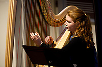 Harpist Erin Baker performs during the Composition Forum at the 11th USA International Harp Competition at Indiana University in Bloomington, Indiana on Monday, July 8, 2019. (Photo by James Brosher)