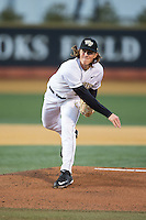 Wake Forest Demon Deacons starting pitcher Parker Dunshee (36) follows through on his delivery against the Georgetown Hoyas at David F. Couch Ballpark on February 19, 2016 in Winston-Salem, North Carolina.  The Demon Deacons defeated the Hoyas 3-1.  (Brian Westerholt/Four Seam Images)