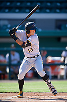 Bradenton Marauders third baseman Hunter Owen (13) at bat during the first game of a doubleheader against the Lakeland Flying Tigers on April 11, 2018 at Publix Field at Joker Marchant Stadium in Lakeland, Florida.  Lakeland defeated Bradenton 5-4.  (Mike Janes/Four Seam Images)