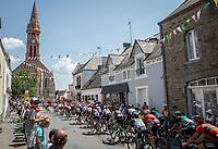 peloton rolling into town.<br /> <br /> Stage 4: La Baule > Sarzeau (192km)<br /> <br /> 105th Tour de France 2018<br /> ©kramon