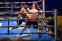 George Fox (black/white shorts) defeats Reece Barlow during a Boxing Show at the SSE Arena on 24th July 2021