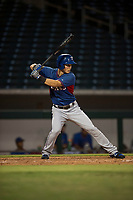 AZL Rangers center fielder Jose Cardona (11) at bat during an Arizona League game against the AZL Cubs 2 at Sloan Park on July 7, 2018 in Mesa, Arizona. AZL Rangers defeated AZL Cubs 2 11-2. (Zachary Lucy/Four Seam Images)