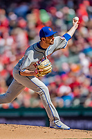 5 April 2018: New York Mets pitcher Jerry Blevins on the mound to start the 7th inning against the Washington Nationals during the Nationals' Home Opener at Nationals Park in Washington, DC. The Mets defeated the Nationals 8-2 in the first game of their 3-game series. Mandatory Credit: Ed Wolfstein Photo *** RAW (NEF) Image File Available ***