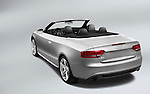 Rear angle view of a silver 2010 Audi A5 Convertible