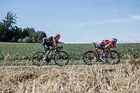 Early break away group with Nick Van Der Lijke (NED/Roompot) and Matthias Brändle (AUT/Trek Segafredo)<br /> <br /> Binckbank Tour 2018 (UCI World Tour)<br /> Stage 6: Riemst (BE) - Sittard-Geleen (NL) 182,2km