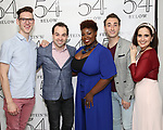 Ben Durocher, Ron McClure, Danielle K. Thomas, Jason Jacoby and Stephanie D'Abruzzo backstage at the 'Avenue Q' 15th Anniversary Reunion Concert at Feinstein's/54 Below on July 30, 2018 in New York City.