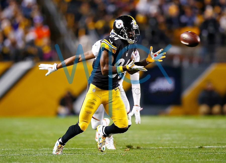 Antonio Brown #84 of the Pittsburgh Steelers catches a pass in the second half against the Denver Broncos during the game at Heinz Field on December 20, 2015 in Pittsburgh, Pennsylvania. (Photo by Jared Wickerham/DKPittsburghSports)