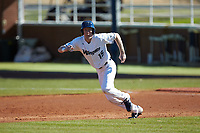 Mitch Farris (15) of the Wingate Bulldogs takes off for second base against the Concord Mountain Lions at Ron Christopher Stadium on February 2, 2020 in Wingate, North Carolina. The Mountain Lions defeated the Bulldogs 12-11. (Brian Westerholt/Four Seam Images)