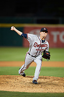 Gwinnett Braves relief pitcher Dan Winkler (56) delivers a warmup pitch during a game against the Buffalo Bisons on August 19, 2017 at Coca-Cola Field in Buffalo, New York.  Gwinnett defeated Buffalo 1-0.  (Mike Janes/Four Seam Images)
