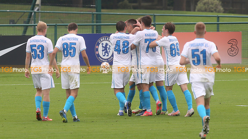 Whatever happened to teams wearing numbers one to eleven!! Zenit St Petersburg players congratulate Evgeny Kim after scoring their opening goal during Chelsea Under-19 vs FC Zenit Under-19, UEFA Youth League Football at Cobham Training Ground on 14th September 2021