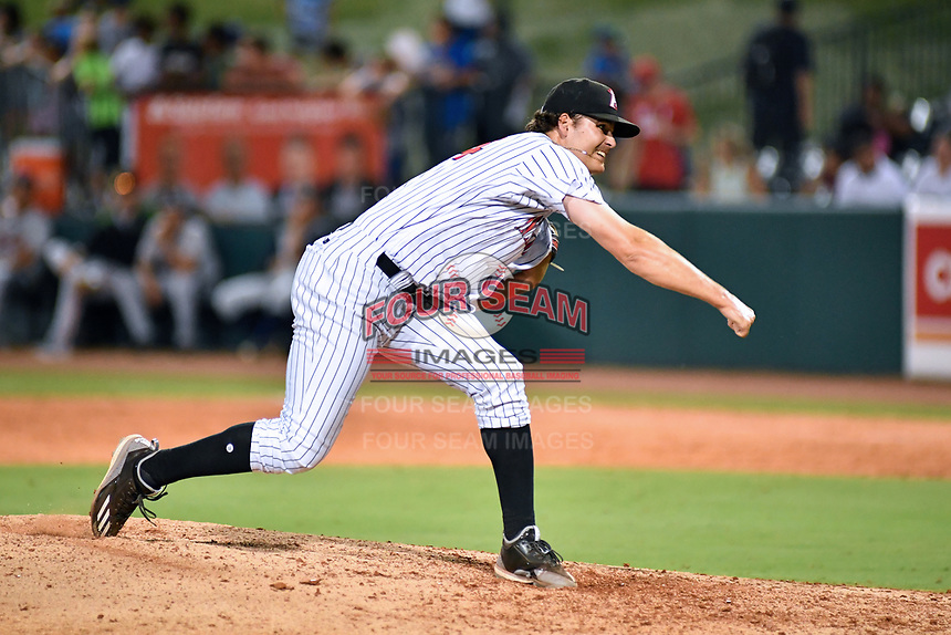 Northern Divisions pitcher Blake Battenfield (24) of the Kannapolis Intimidators delivers a pitch during the South Atlantic League All Star Game at First National Bank Field on June 19, 2018 in Greensboro, North Carolina. The game Southern Division defeated the Northern Division 9-5. (Tony Farlow/Four Seam Images)