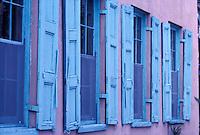 Blue shuttered windows<br />