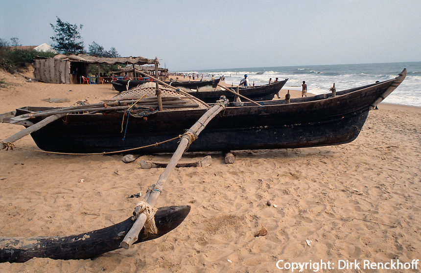 Indien, Calangute (Goa), Fischer am Strand