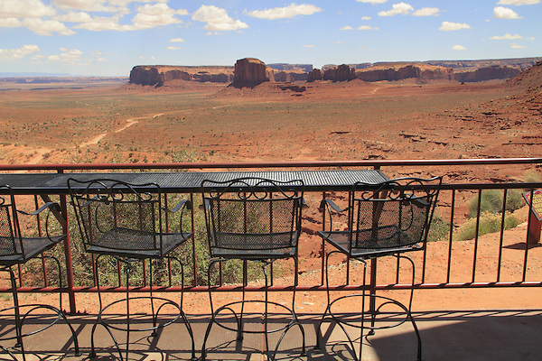 Tables at a restaurant in Monument Valley, Arizona, USA. . John offers private photo tours in Monument Valley and throughout Arizona, Utah and Colorado. Year-round.