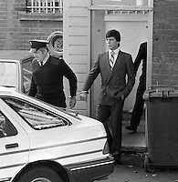 Pix: Copyright Anglia Press Agency/Archived via SWpix.com. The Bamber Killings. August 1985. Murders of Neville and June Bamber, daughter Sheila Caffell and her twin boys. Jeremy Bamber convicted of killings serving life...copyright photograph>>Anglia Press Agency>>07811 267 706>>..Jeremy Bamber leaves Maldon Magistrate's court. no date..ref 0001 neg 11..