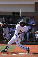 Coastal Carolina Chanticleers outfielder Alex Buccilli #39 at bat during a game against the Ohio State Buckeyes at Watson Stadium at Vrooman Field on March 11, 2012 in Conway, SC. Coastal Carolina defeated Ohio State 3-2. (Robert Gurganus/Four Seam Images)