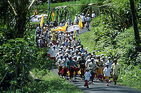 Ceremonial procession to rice paddies Bali Indonesia