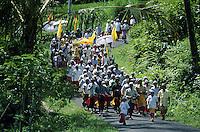 Ceremonial procession to rice paddies Bali Indonesia