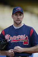 John Smoltz of the Atlanta Braves during a 2003 season MLB game at Dodger Stadium in Los Angeles, California. (Larry Goren/Four Seam Images)