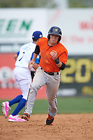 Frederick Keys second baseman Drew Turbin (15) running the bases during the first game of a doubleheader against the Wilmington Blue Rocks on May 14, 2017 at Daniel S. Frawley Stadium in Wilmington, Delaware.  Wilmington defeated Frederick 10-2.  (Mike Janes/Four Seam Images)