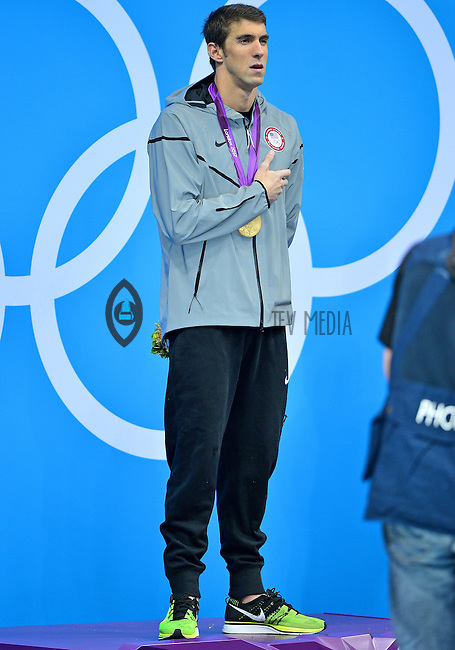 August 02, 2012..Michael Phelps on the podium during Men's 200m Individual Medley Award Ceremony at the Aquatics Center on day six of 2012 Olympic Games in London, United Kingdom.