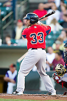Pawtucket Red Sox catcher Dan Butler #33 during an International League game against the Rochester Red Wings at Frontier Field on August 11, 2012 in Rochester, New York.  Rochester defeated Pawtucket 5-3.  (Mike Janes/Four Seam Images)
