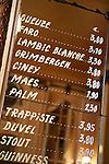 Belgium, Province Brabant, Brussels: Beer menu inside the bar La Morte Subite