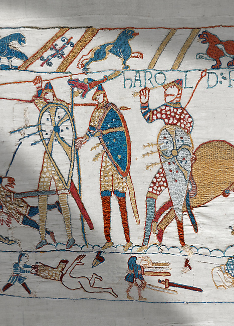 Bayeux Tapestry scene 57: King Harold is killed by an arrow in his eye as he looses the Battle of Hastings.