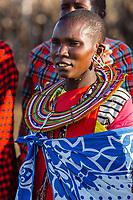 Tanzania. Maasai Woman in Traditional Dress to Welcome Visitors.  Maasai Village of Ololosokwan, Northern Serengeti.