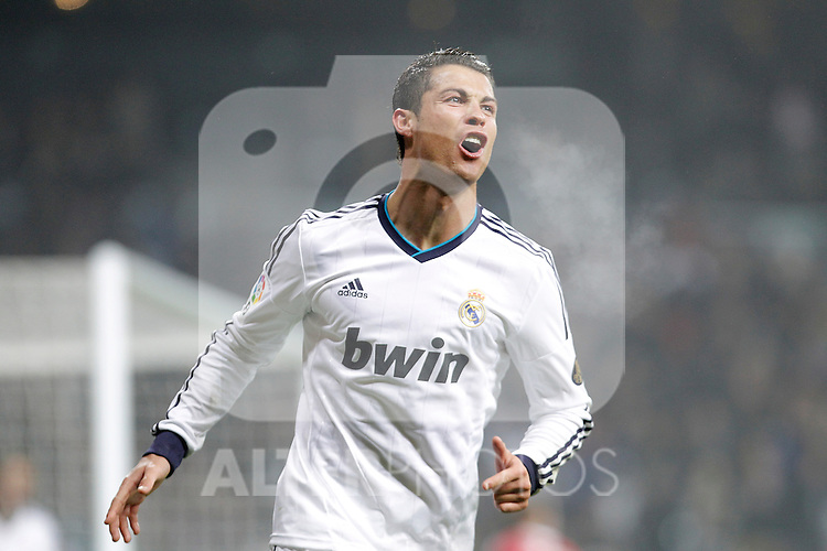 Real Madrid's Cristiano Ronaldo celebrates during king's Cup match. January 10, 2013. (ALTERPHOTOS/Alvaro Hernandez)