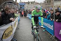 Sep Vanmarcke (BEL/Belkin) returning from the start podium to the start line in the historic heart of Bruges<br /> <br /> Ronde van Vlaanderen 2014