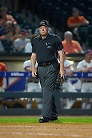 Home plate umpire Frank Sylvester stands on the field between innings during the game between the Duke Blue Devils and the Clemson Tigers in Game Three of the 2017 ACC Baseball Championship at Louisville Slugger Field on May 23, 2017 in Louisville, Kentucky. The Blue Devils defeated the Tigers 6-3. (Brian Westerholt/Four Seam Images)