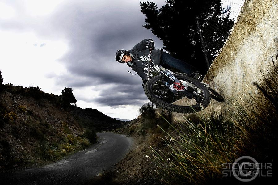 Neil Donoghue wallride..Near Bubion , Alpujarra region , Spain ,  March 2007..pic copyright Steve Behr / stockfile