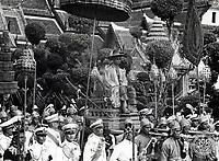 Bhumibol at his coronation, on a royal procession.<br /> May 5, 1950