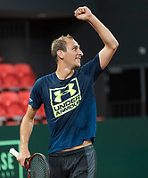 The Hague, The Netherlands, September 11, 2017,  Sportcampus , Davis Cup Netherlands - Chech Republic, training, Thiemo de Bakker (NED)<br /> Photo: Tennisimages/Henk Koster