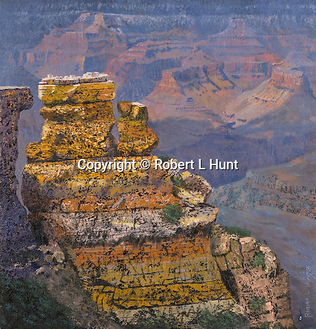 """A view of the Grand Canyon's natural beauty and splendor, oil on canvas, 10"""" x 8""""."""