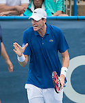 John Isner (USA) defeats Dmitry Tursunov (RUS) 6(7)-7(9), 6-3, 6-4 at the CitiOpen in Washington, D.C., Washington, D.C.  District of Columbia on August 3, 2013.