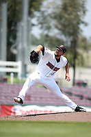 Max Bethell (31) of the Inland Empire 66ers pitches against the Visalia Rawhide at San Manuel Stadium on June 5, 2017 in San Bernardino, California. Visalia defeated Inland Empire, 9-1. (Larry Goren/Four Seam Images)