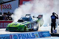 Nov 1, 2020; Las Vegas, Nevada, USA; NHRA funny car driver Tim Wilkerson during the NHRA Finals at The Strip at Las Vegas Motor Speedway. Mandatory Credit: Mark J. Rebilas-USA TODAY Sports