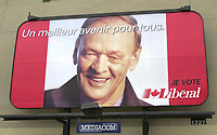 Montreal, October 24, 2000 File Photo<br /> Canadian LiberalParty  Leader and Prime Minister ;  the Honorable Jean Chr»tien smiles on this electoral billboardin Montreal (Quebec, CANADA)  that says in French ``  a better future for all I vote Liberal ``.<br /> Jean Chretien and the Liberal Party are ahead with 45 % of the vote accordnig to the latest polls (Nov 20)<br /> Photo (c) Pierre Rousse