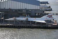 Blick auf die Concorde am Intrepid Museum von Pier 79 von der Norwegian Breakaway am Manhattan Cruise Terminal