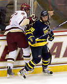 Brian Dumoulin (BC - 2), Ryan Flanigan (Merrimack - 20) - The Boston College Eagles defeated the Merrimack College Warriors 4-3 on Friday, October 30, 2009, at Conte Forum in Chestnut Hill, Massachusetts.