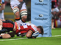 24th September 2021;  Kingsholm Stadium, Gloucester, England; Gallaher Premiership Rugby, Gloucester Rugby versus Leicester Tigers: Mark Atkinson of Gloucester scores a try