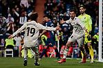 Real Madrid's Alvaro Odriozola (L) and Dani Ceballos (R) celebrate goal during La Liga match between Real Madrid and SD Huesca at Santiago Bernabeu Stadium in Madrid, Spain. March 31, 2019. (ALTERPHOTOS/A. Perez Meca)