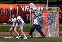 Logan Ripley (48) of North Carolina makes a save during the ACC women's lacrosse tournament semifinals in College Park, MD.  North Carolina defeated Duke, 14-4.