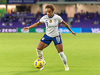 ORLANDO, FL - JANUARY 22: Crystal Dunn #19 of the USWNT dribbles during a game between Colombia and USWNT at Exploria stadium on January 22, 2021 in Orlando, Florida.