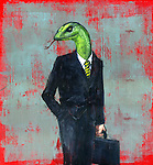 Conceptual illustration of businessman with snake head depicting dishonesty