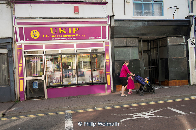 UKIP office in Ramsgate, one of the five most deprived seaside towns in the UK and part of the Thanet South Parliamentary constituency.