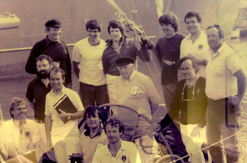 Denis Doyle in the midst of Moonduster's crew in Wicklow after setting the record of 1984. Included in photo are Joxer O'Brien, John Bourke, Neil Love, David Harte, Neil Hegarty, Don McClement, Grattan Riberts and Brendan Fogarty