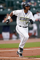 First baseman Felix Familia (24) of the Columbia Fireflies in a game against the Charleston RiverDogs on Tuesday, May 11, 2021, at Segra Park in Columbia, South Carolina. (Tom Priddy/Four Seam Images)
